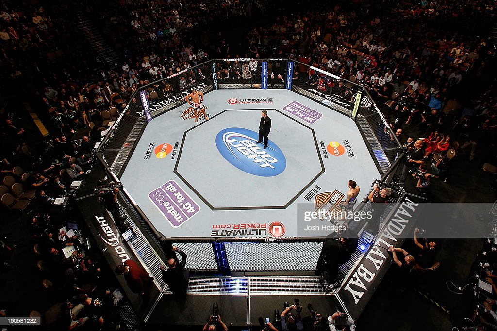 An overhead view of the Octagon as Jose Aldo (L) and Frankie Edgar (R) stand in their corners between rounds during their featherweight title fight at UFC 156 on February 2, 2013 at the Mandalay Bay Events Center in Las Vegas, Nevada.