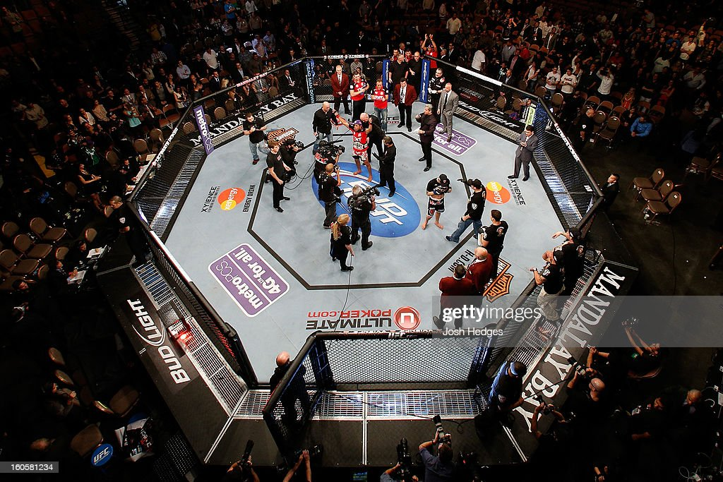 An overhead view of the Octagon as <a gi-track='captionPersonalityLinkClicked' href=/galleries/search?phrase=Jose+Aldo&family=editorial&specificpeople=6912631 ng-click='$event.stopPropagation()'>Jose Aldo</a> is declared the victor by decision against <a gi-track='captionPersonalityLinkClicked' href=/galleries/search?phrase=Frankie+Edgar&family=editorial&specificpeople=5446046 ng-click='$event.stopPropagation()'>Frankie Edgar</a> after their featherweight title fight at UFC 156 on February 2, 2013 at the Mandalay Bay Events Center in Las Vegas, Nevada.