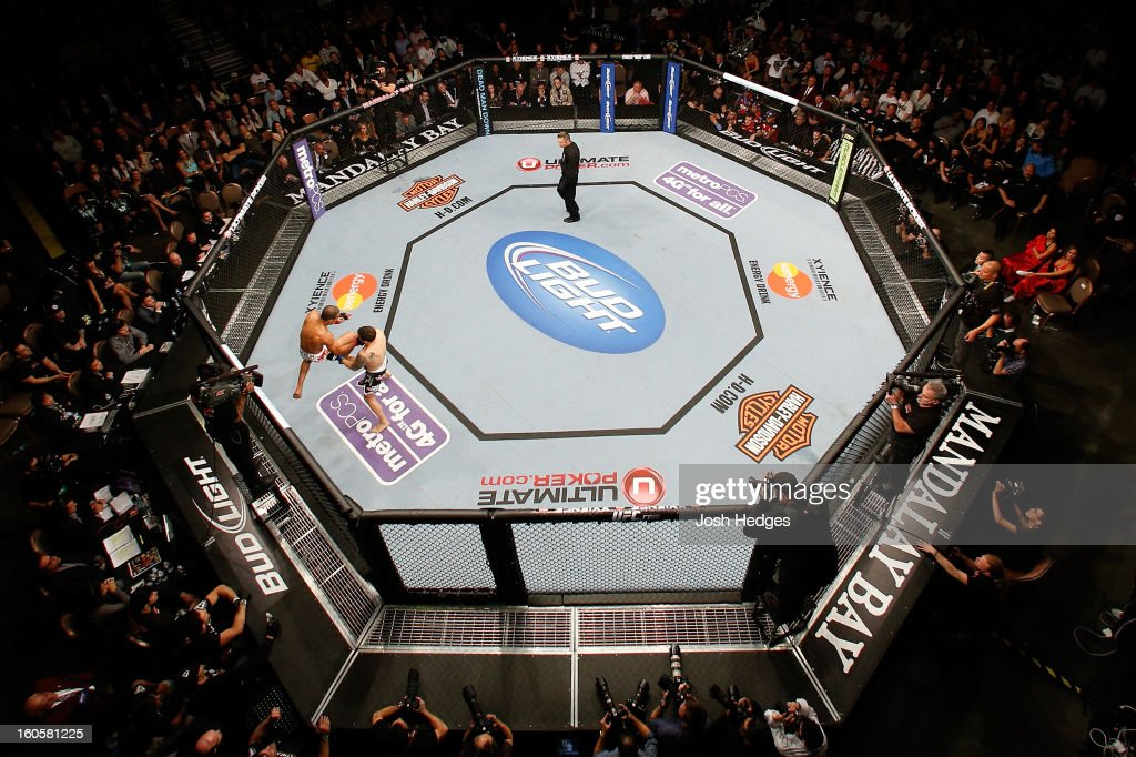 An overhead view of the Octagon as Jose Aldo (L) lands a flying knee strike against Frankie Edgar during their featherweight title fight at UFC 156 on February 2, 2013 at the Mandalay Bay Events Center in Las Vegas, Nevada.