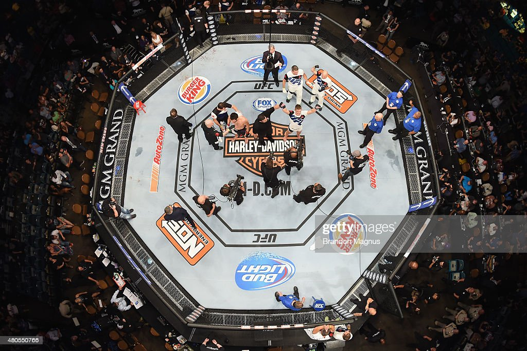 An overhead view of the Octagon as Stephen Thompson reacts to his victory over Jake Ellenberger in their welterweight bout during the Ultimate Fighter Finale inside MGM Grand Garden Arena on July 12, 2015 in Las Vegas, Nevada.