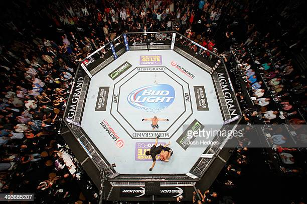 An overhead view of the Octagon as TJ Dillashaw reacts after knocking out Renan Barao in the fifth round to win the UFC bantamweight championship...
