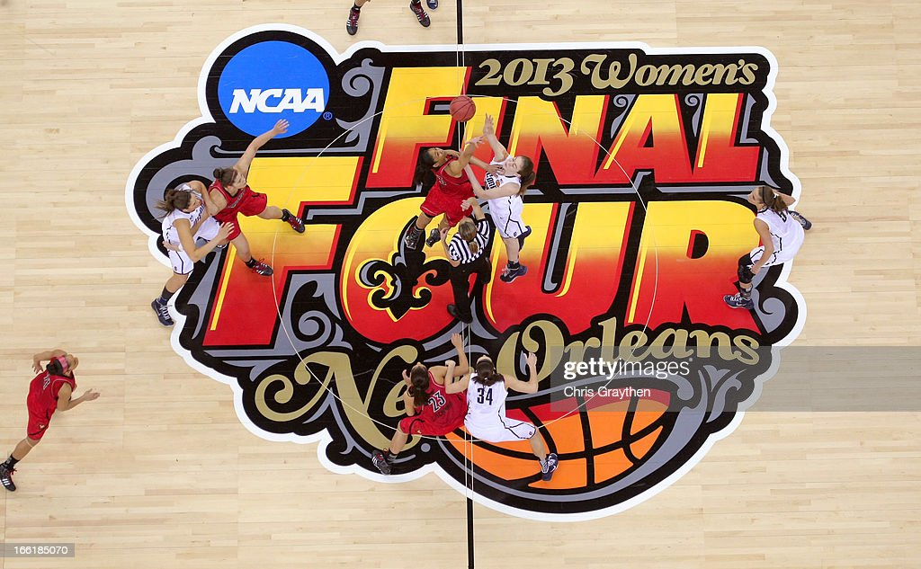 An overhead view of the opening tip between Sheronne Vails #3 of the Louisville Cardinals and Breanna Stewart #30 of the Connecticut Huskies during the 2013 NCAA Women's Final Four Championship at New Orleans Arena on April 9, 2013 in New Orleans, Louisiana.