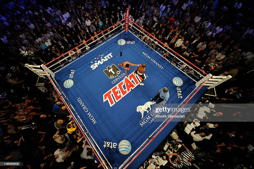 An overhead view of the ring as Manny Pacquiao punches Timothy Bradley during their WBO welterweight title fight at MGM Grand Garden Arena on June 9...