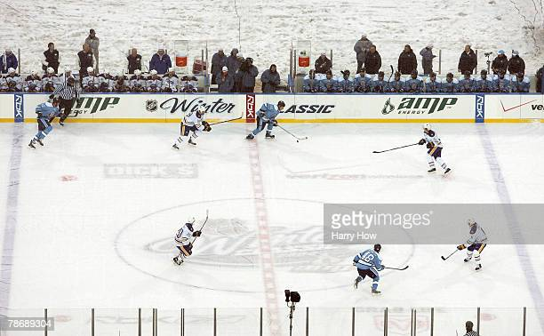 An overhead view of the rink as the Buffalo Sabres play the Pittsburgh Penguins during the second period of the NHL Winter Classic at the Ralph...
