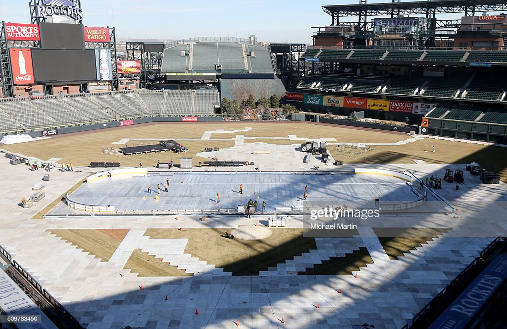 An overhead view of the rink build out as part of the 2016 Coors Light Stadium Series at Coors Field on February 12, 2016 in Denver, Colorado. The game is scheduled to be played on Feb 27.