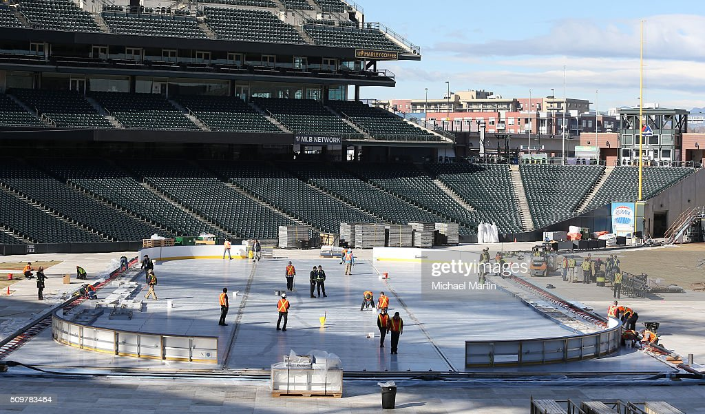 An overhead view of workers preparing the surface before putting down the ice as part of the 2016 Coors Light Stadium Series at Coors Field on February 12, 2016 in Denver, Colorado. The game is scheduled to be played on Feb 27.