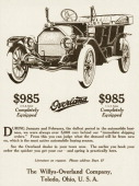 An Overland automobile is shown in a magazine advertisement from 1913 A completely equipped car is priced at $985 FOB Toledo Ohio
