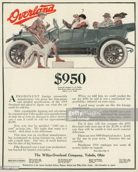 An Overland automobile is shown in a magazine advertisement from 1914 Four people are seated inside the car a man with golf clubs and a dog are...