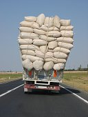 Overloaded turkish truck driving on the road