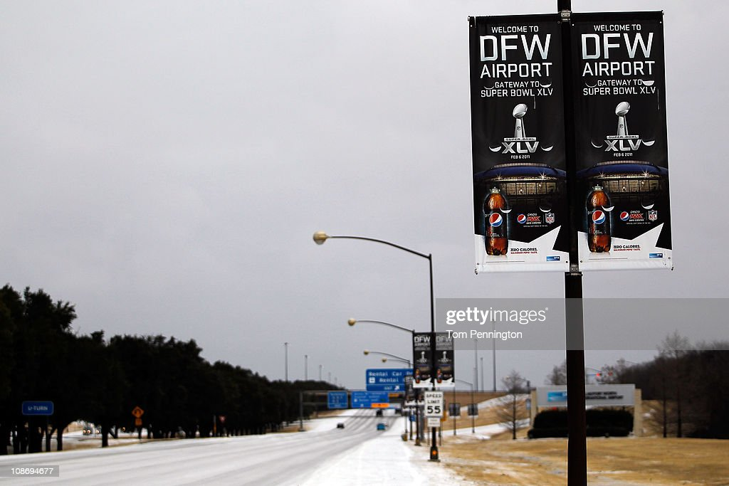 An overnight ice storm forces the closure of DFW International Airport on February 1, 2011 in Dallas, Texas. A major ice storm hit the Dallas/Fort Worth area overnight days before Super Bowl XLV is to be be held in Arlington, Texas.