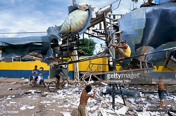 An oversized dragon is vandalised or stripped of all its artistry after the conclusion of the 'Boi Bumba' Carnival Parintins Brazil The carnival...