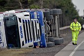 An overturned lorry causes the A1 road to be closed in both directions on February 16 2016 in TornessScotland Two HGVs have been blown over by high...