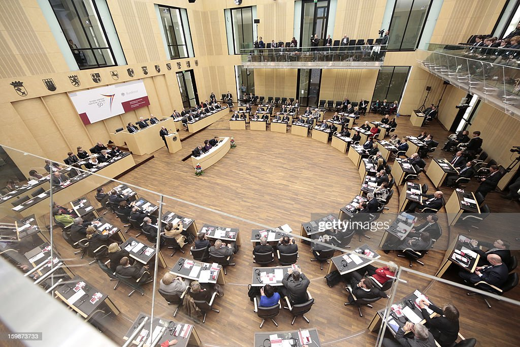 An overview of a special joint plenary session is pictured on January 22, 2013 at the Bundesrat in Berlin as part of the celebration to mark 50 years since the Elysee Treaty launched after WWII French-German cooperation. In signing the landmark treaty on January 22, 1963, then French president Charles de Gaulle and West German chancellor Konrad Adenauer sealed a new era of reconciliation between the former foes which has since driven European unity.