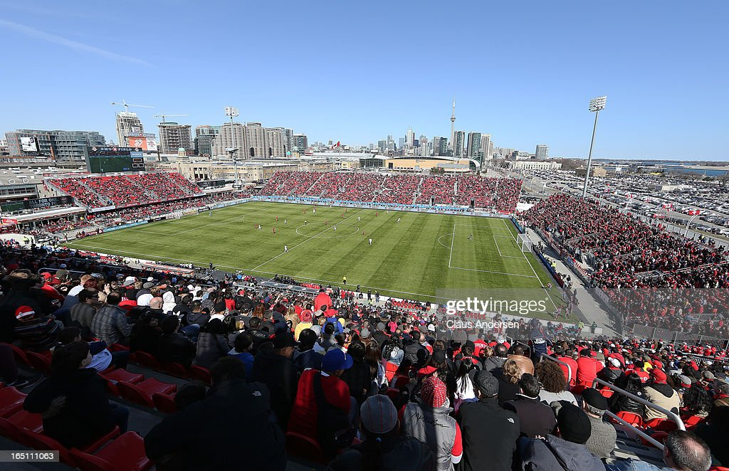 An overview of BMO Field during a MLS game between the Los Angeles Galaxy and the Toronto FC on March 30, 2013 at BMO Field in Toronto, Ontario, Canada. The Los Angeles Galaxy and Toronto FC played to a 2-2 tie.