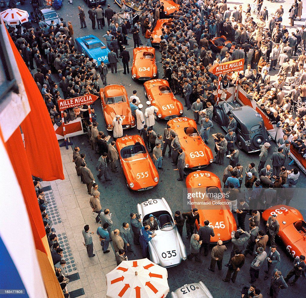 An overview of cars lined up for prerace scrutineering in the Piazza Vittoria in Brescia Italy before the start of the Mille Miglia 30th April 1955...