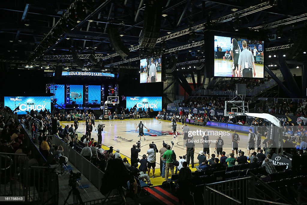 An overview of court during the BBVA Rising Stars Challenge Practice in Sprint Arena during the 2013 NBA Jam Session on February 15, 2013 at the George R. Brown Convention Center in Houston, Texas.