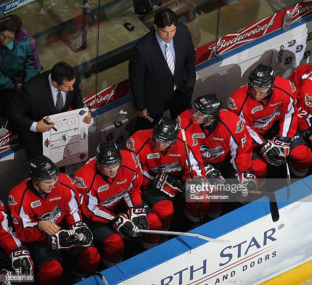 An overview of head coach Bob Boughner of the Windsor Spitfires in an OHL game against the London Knights on October 5 2012 at the Budweiser Gardens...