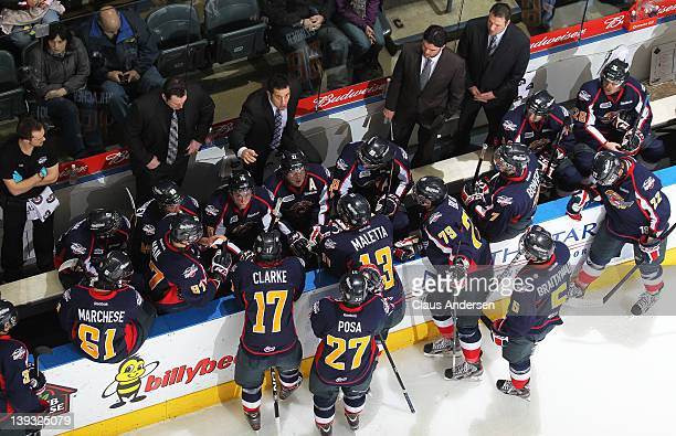 An overview of head coach Bob Boughner of the Windsor Spitfires giving instructions in a game against the London Knights on February 17 2012 at the...