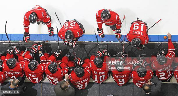 An overview of head coach Greg Ireland and the Owen Sound Attack bench against the London Knights in an OHL game at Budweiser Gardens on November 14...