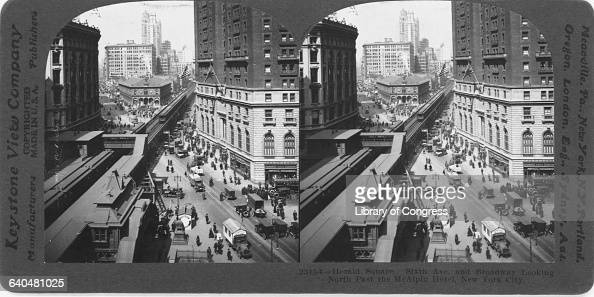 An overview of Herald Square looking past up Broadway past the McAlpin Hotel ca 1920 New York City