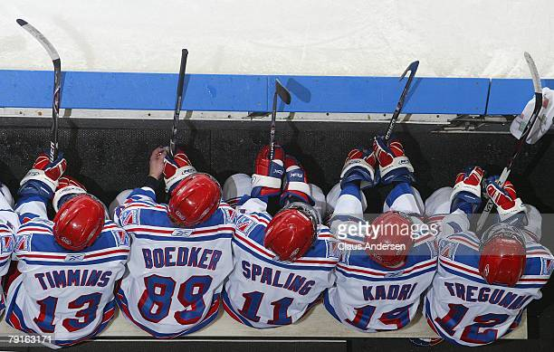 An overview of Kitchener Rangers bench in a game against the London Knights on January 20 2008 at the John Labatt Centre in London Ontario The...