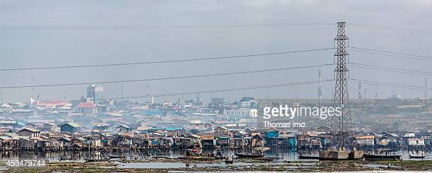 An overview of Slum Mekokot on June 11 2014 in Lagos Nigeria