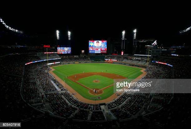 An overview of SunTrust Park during the MLB game between the Atlanta Braves and the Los Angeles Dodgers on August 1 2017 at SunTrust Park in Atlanta...