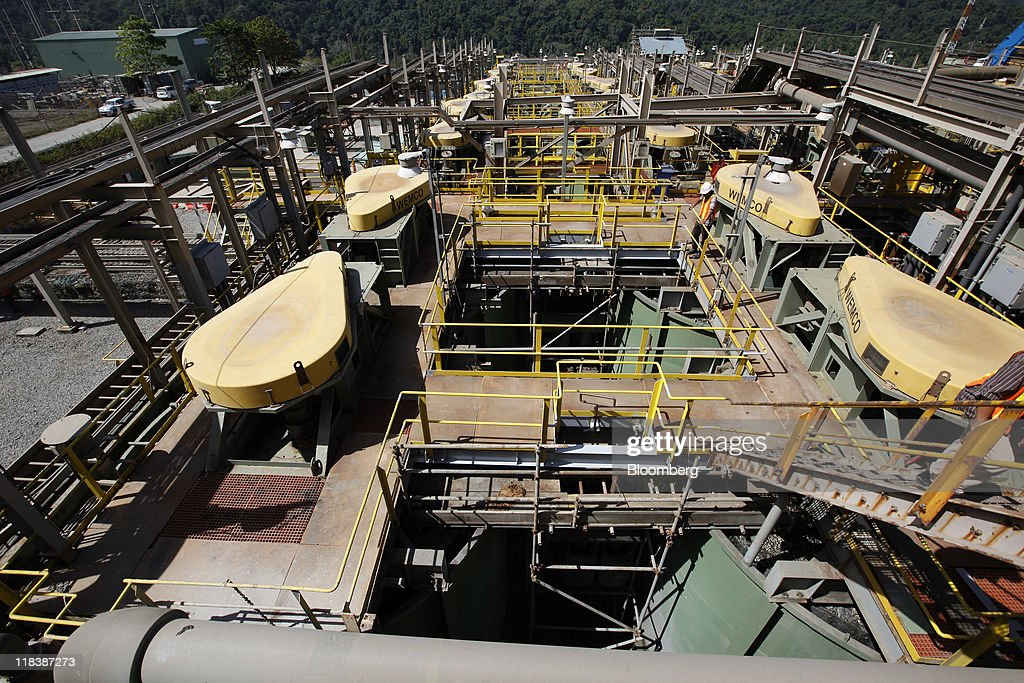 An overview of the concentrator area at PT Newmont Nusa Tenggara's processing plant is seen at the Batu Hijau copper and gold mine in Sumbawa, West Nusa Tenggara province, Indonesia, on Wednesday, June 29, 2011. PT Newmont Nusa Tenggara is a unit of Newmont Mining Corp. Photographer: Dadang Tri/Bloomberg via Getty Images