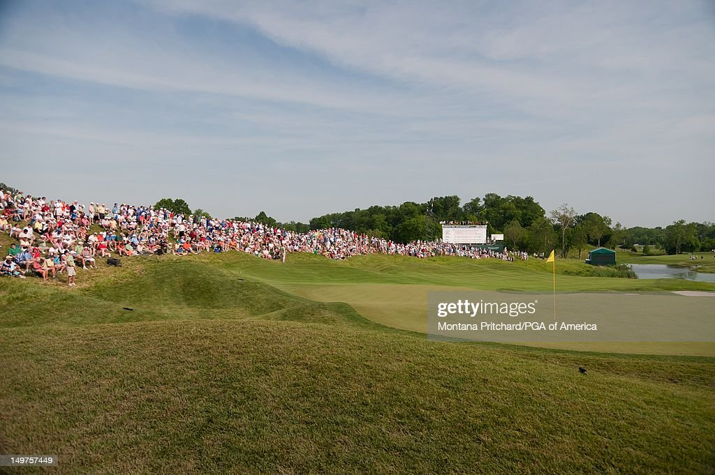 An overview of the eighteenth hole during the final round of play at the 72nd Senior PGA Championship Presented by KitchenAid at Valhalla Golf Club in Louisville, KY, USA, on Sunday, May 29, 2011.
