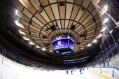 An overview of the fully renovated Madison Square Garden during a game between the New York Rangers and the Montreal Canadiens on October 28 2013 in...