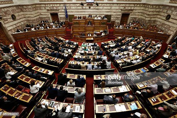 An overview of the Greek parliament is seen in Athens Greece on Saturday July 11 2015 Greek lawmakers debated Prime Minister Alexis Tsiprasâs bailout...