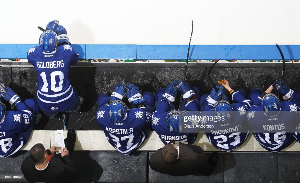 An overview of the Mississauga Steelheads bench in an OHL game against the London Knights on December 9, 2012 at the Budweiser Gardens in London, Ontario, Canada. The Knights defeated the Steelheads 5-2 and tied their franchise record of 18 straight wins.