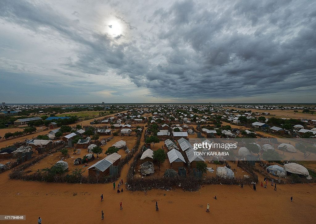 An overview of the part of the eastern sector of the IFO2 camp in the sprawling Dadaab refugee camp north of the Kenyan capital Nairobi seen on April...