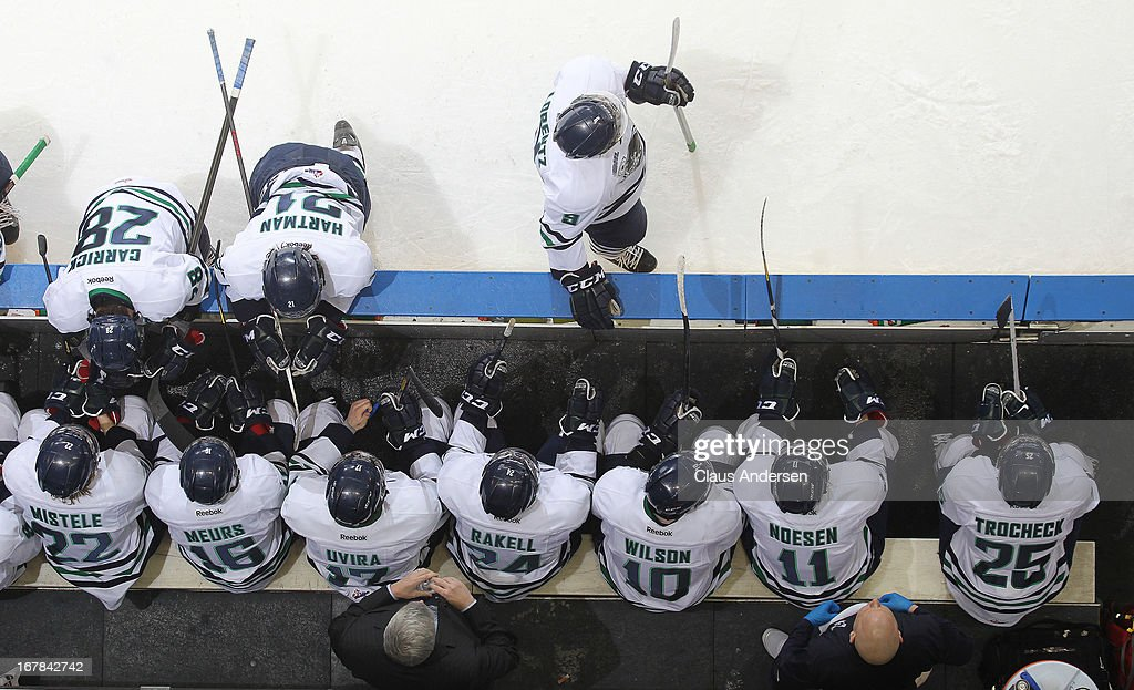 An overview of the Plymouth Whalers bench in Game Five of the Western Conference Final against the London Knights on April 26, 2013 at the Budweiser Gardens in London, Ontario, Canada. The Knights defeated the Whalers 5-4 in overtime to win the series 4-1.