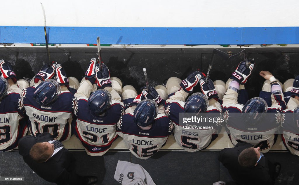 An overview of the Saginaw Spirit bench in an OHL game against the London Knights on February 24, 2013 at the Budweiser Gardens in London, Ontario, Canada. The Knights defeated the Spirit 3-2.