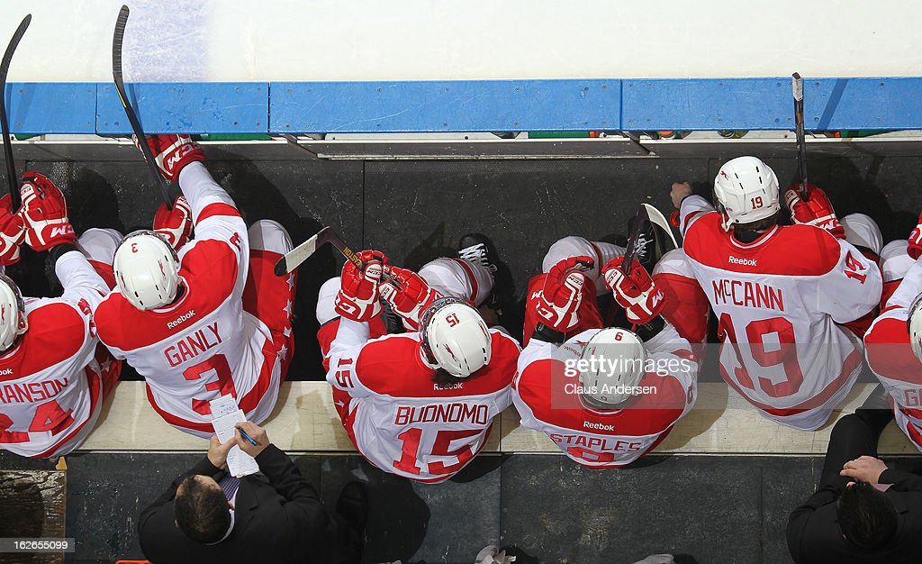 An overview of the Sault Ste. Marie Greyhounds bench in an OHL game against the London Knights on February 22, 2013 at the Budweiser Gardens in London, Ontario, Canada. The Knights defeated the Greyhounds 4-3 in overtime.