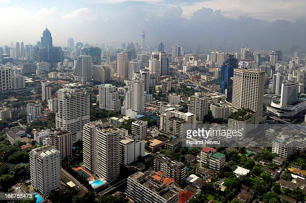 An overview of the Sukhumvit area of the city of Bangkok in Thailand seen from the top of a skyscrapper on Rachada boulevard