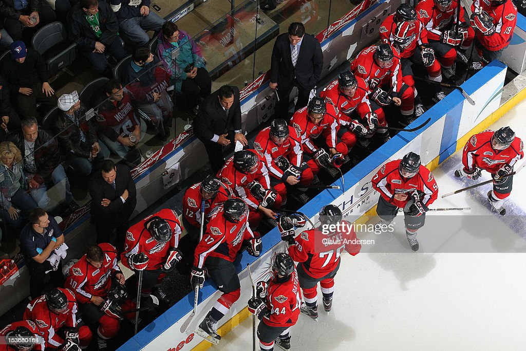 An overview of the Windsor Spitfires bench in an OHL game against the London Knights on October 5, 2012 at the Budweiser Gardens in London, Canada. The Knights defeated the Spitfires 8-2.