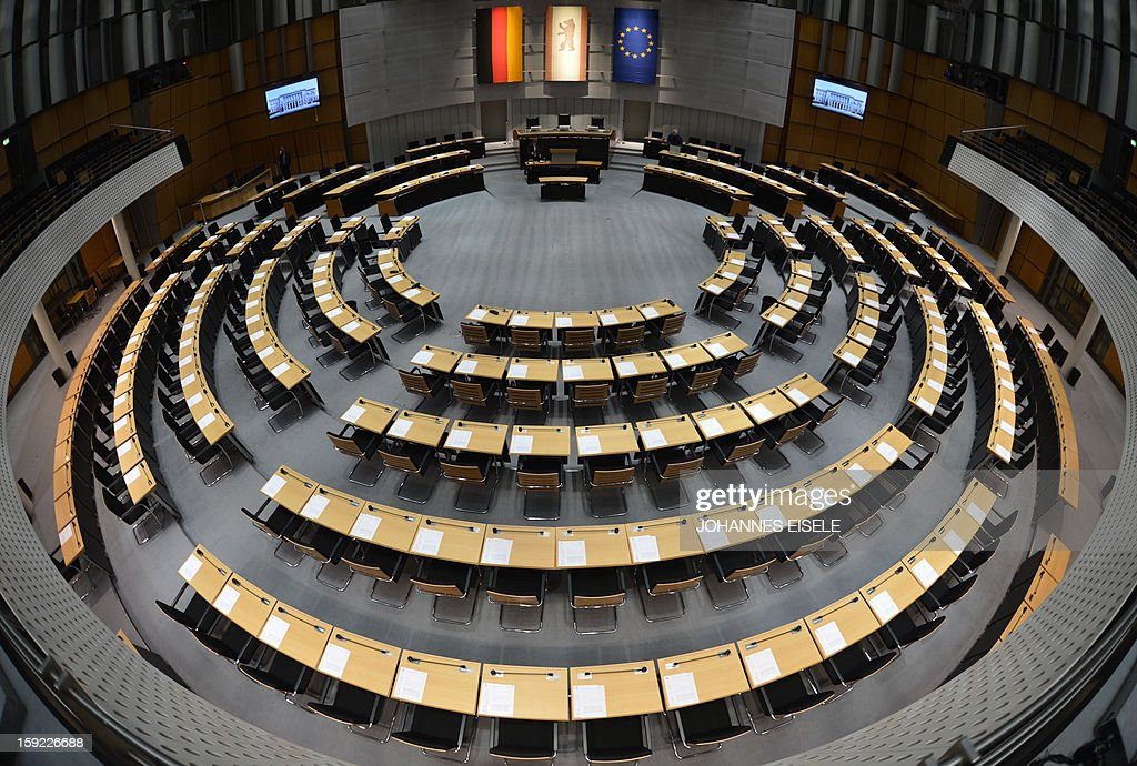 An overview shows Berlin's senate before an extraordinary meeting in Berlin on January 10, 2013. Delegates of the parliamentary groups of the Greens, the leftist Die Linke and the Pirates had requested the session after Berlin's mayor Klaus Wowereit had announced that the opening of the capital's new main airport would have to be postponed from October 2013 indefinitely after several previous delays due to a series of technical issues.