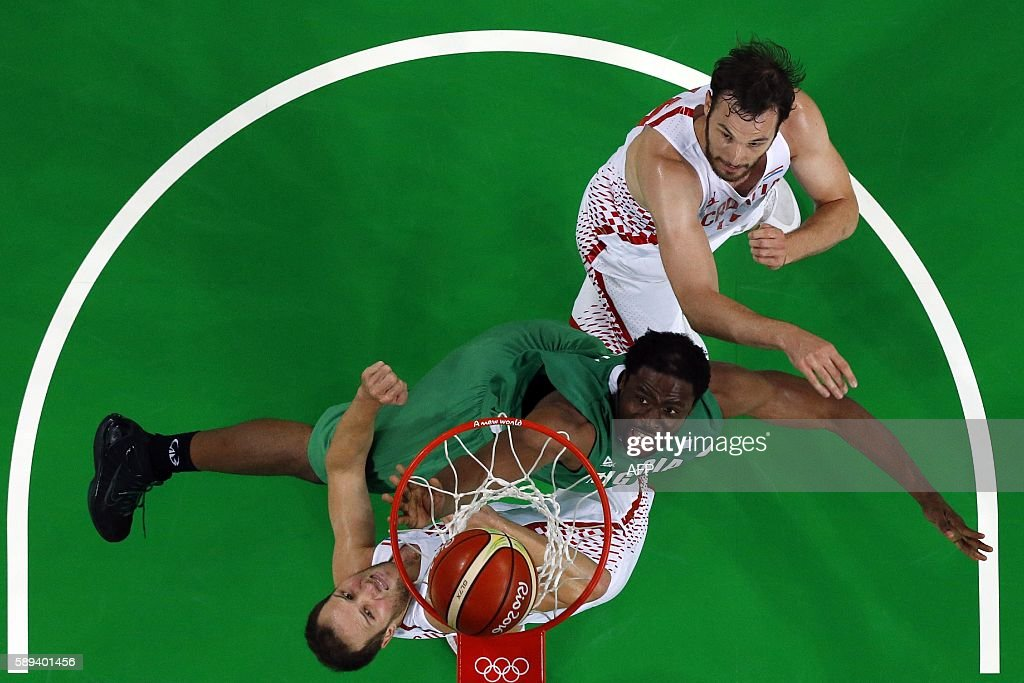 An overview shows Nigeria's power forward Ike Diogu and Croatia's shooting guard Bojan Bogdanovic go for a rebound during a Men's round Group B...
