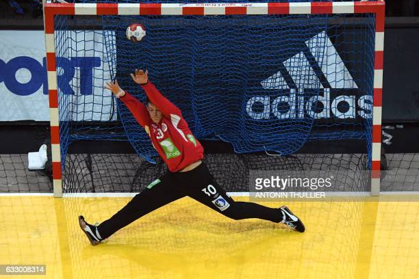 TOPSHOT An overview shows Norway's goalkeeper Torbjorn Bergerud failing to stop a shot during the 25th IHF Men's World Championship 2017 final...