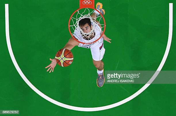 TOPSHOT An overview shows Serbia's forward Nikola Kalinic scoring during a Men's round Group A basketball match between Serbia and China at the...