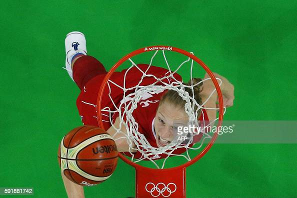 TOPSHOT An overview shows Serbia's power forward Danielle Page eyeing the ball during a Women's semifinal basketball match between Spain and Serbia...