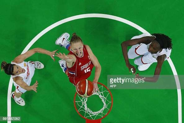 TOPSHOT An overview shows Serbia's power forward Danielle Page jumping for a basket by Spain's guard Anna Cruz and Spain's power forward Astou Ndour...