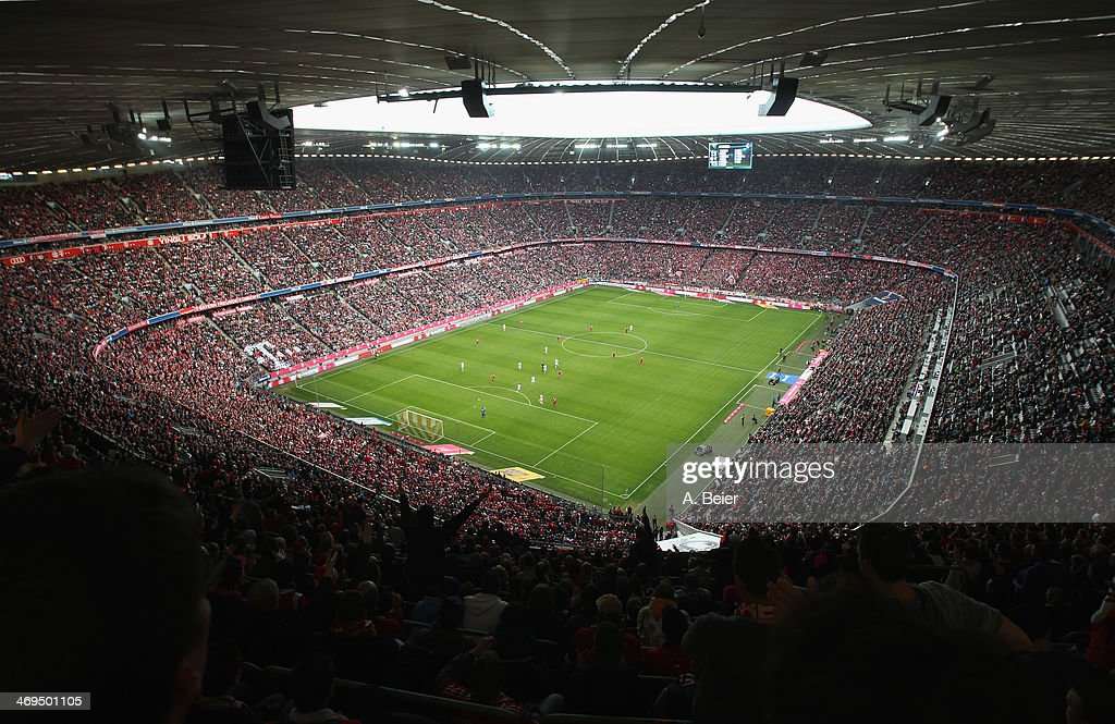 An overview shows the Allianz Arena football stadium during the Bundesliga match between FC Bayern Muenchen and SC Freiburg at Allianz Arena on February 15, 2014 in Munich, Germany.