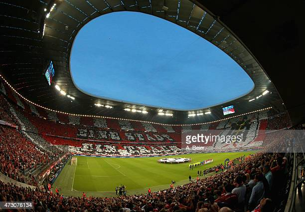 An overview shows the performance of Bayern Muenchen fans before the UEFA Champions League semi final second leg match between FC Bayern Muenchen and...