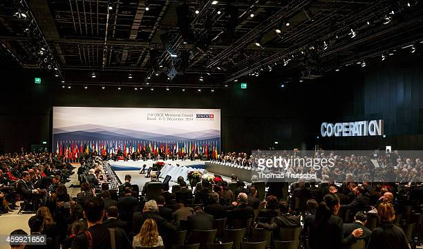 An overview shows the plenary hall of the 21th OSCE Ministerial Council on December 04 2014 in Basel Switzerland