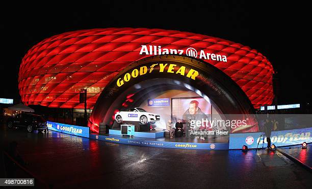 An overview shows the presentation of the new FC Bayern Muenchen tire sponsor Goodyear at November 25 2015 in Munich Germany