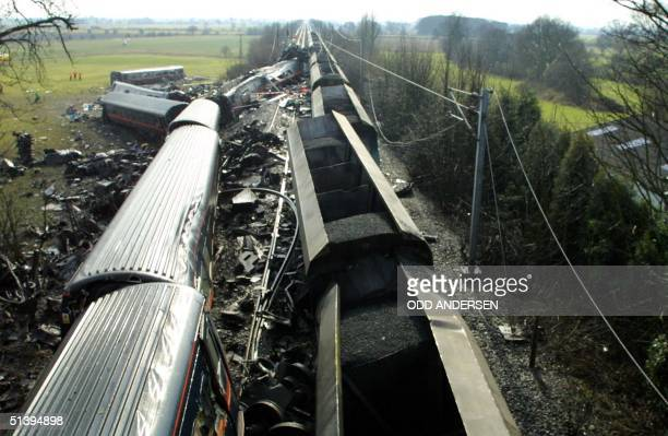 An overview shows the traincrash scene in Great Heck some 300 km north of London 28 February 2001 13 people are confirmed dead and some 80 people...