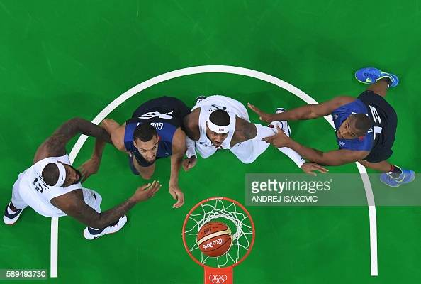 TOPSHOT An overview shows USA's centre DeMarcus Cousins France's centre Rudy Gobert USA's forward Carmelo Anthony and France's power forward Boris...